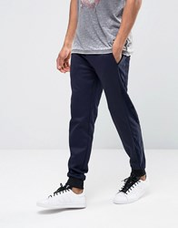 Asos Skinny Joggers With Velour Cut And Sew Detail Navy