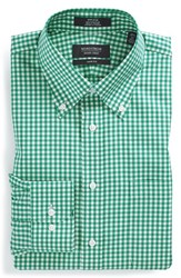 Men's Big And Tall Nordstrom Non Iron Trim Fit Gingham Dress Shirt Green Emerald