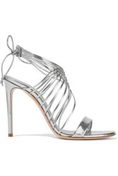 Casadei Evening Strap Detailed Mirrored Leather Sandals Silver