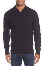 Schott Nyc Waffle Knit Thermal Wool Blend Pullover Black
