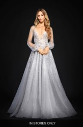 Hayley Paige Women's Lumi Embellished Long Sleeve Tulle Ballgown