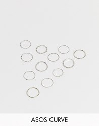 Asos Design Curve Pack Of 12 Rings In Mixed Texture And Twist Designs In Silver Tone