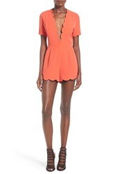 Storee Women's Scallop Plunge Romper