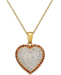 Macy's White And Red Diamond Heart Pendant Necklace In 10K Gold 1 2 Ct. T.W.