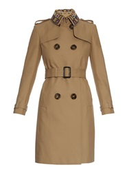 Burberry Embroidered Collar Cotton Gabardine Trench Coat
