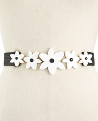 Kate Spade New York Lilly Stretch Straw Belt White Black
