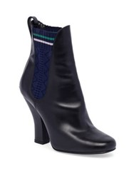 Fendi Round Toe Leather Chelsea Boots Nero
