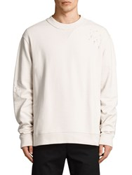 Allsaints Ictus Crew Neck Destroyed Sweatshirt Vintage White