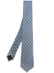 Gucci Bee Embroidered Tie Blue