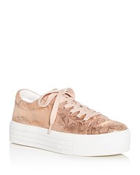 Kenneth Cole Women's Abbey Techni Metallic Floral Print Platform Lace Up Sneakers Rose Gold