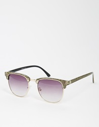 Asos Clubmaster Sunglasses In Glitter Finish Black
