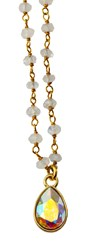 Isabella Tropea Gemstone Chain Confetti Necklace Rainbow Moonstone White Patina
