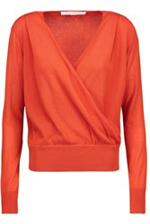 Diane Von Furstenberg Paz Wrap Effect Cotton Blend Sweater Orange