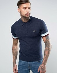 Fred Perry Slim Knitted Polo Stripe Cuff In Navy Marl Vintage Navy