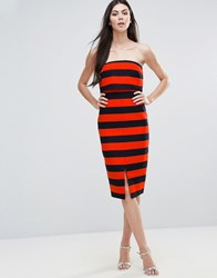 Lavish Alice Striped Midi Dress Orange Navy Multi