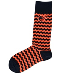 For Bare Feet Baltimore Orioles Chevron Striped Socks Black Orange