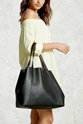 Forever 21 Pebbled Faux Leather Tote Bag Black