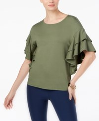 Cable And Gauge Ruffle Sleeve Top Dusty Sage