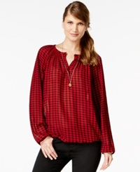 American Living Checkered Peasant Blouse Only At Macy's