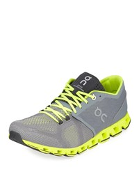 On Cloud X Knit Running Sneakers Gray Neon