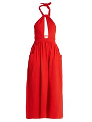Mara Hoffman Knot Front Cotton Dress Red