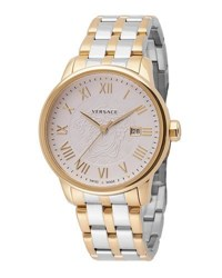 Versace Business Two Tone Stainless Steel Bracelet Watch Silver