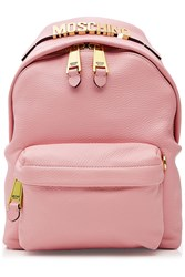 Moschino Leather Backpack With Gilded Logo Embellishment Pink