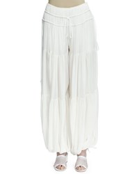 Chloe Tiered Wide Leg Harem Pants Milk White