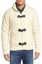 Men's Schott Nyc Cable Knit Shawl Collar Zip Cardigan Off White
