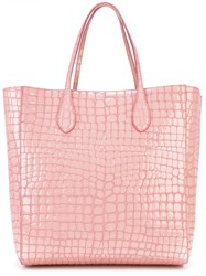 Rochas Crocodile Effect Shopper Pink Purple