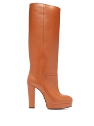 Gucci Round Toe Knee High Leather Boots Tan