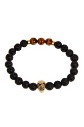 Jean Claude Lava Stone And Tiger Eye Skull Bead Stretch Bracelet Black