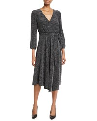 Alice Olivia Coco Plunging Long Sleeve Space Dye Midi Dress Black Silver