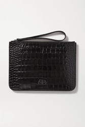 Balenciaga Bb Croc Effect Leather Pouch Black