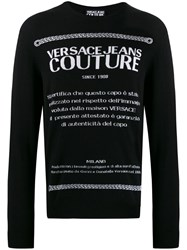 Versace Jeans Couture Logo Print Sweater Black