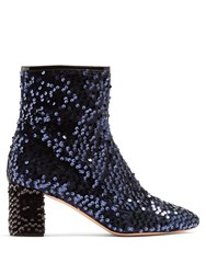 Rochas Sequin Embellished Ankle Boots Black Navy