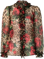 Dolce And Gabbana Mixed Print Ruffled Blouse Multicolour