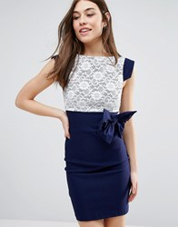 Vesper Mini Dress With Lace Panel And Bow Detail Navy
