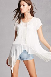 Forever 21 New Friends Colony Beaded Top Mint White
