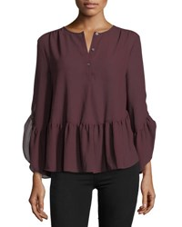 Max Studio Long Sleeve Ruffled High Low Blouse Wine