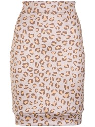 Amir Slama Leopard Print Skirt Nude And Neutrals
