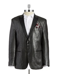 Tallia Orange Metallic Two Button Blazer Grey