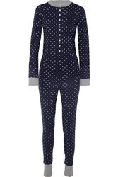 Sleepy Jones Della Polka Dot Cotton Jersey Pajama Jumpsuit Navy