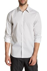 Perry Ellis Geo Long Sleeve Stretch Fit Shirt White