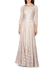 Tahari By Arthur S. Levine Stretch Sparkle Lace Gown Champagne