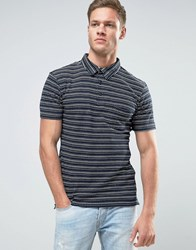 Only And Sons Polo Shirt In Textured Jacquard Detail Blue Navy