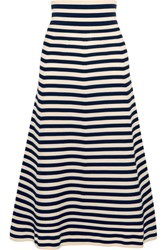 Sonia Rykiel Striped Knitted Midi Skirt Midnight Blue