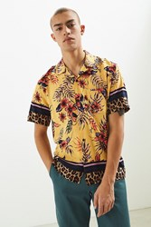 Urban Outfitters Uo Floral Leopard Rayon Short Sleeve Button Down Shirt Assorted