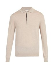 Paul Smith Merino Wool Knit Polo Shirt Beige