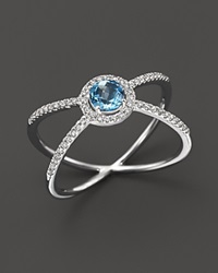 Bloomingdale's Diamond And Blue Topaz Geometric Ring In 14K White Gold Blue White